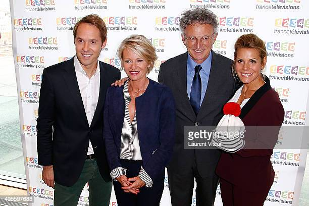 Presenters Damien Thevenot, Sophie Davant, Nelson Monfort and Laura Tenoudji pose at the Photocall during the Telethon 2015 Press Conference at...