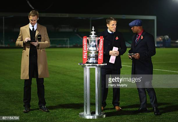 BBC presenters Dan Walker Phil Neville and Trevor Sinclair prior to the Emirates FA Cup First Round match between Eastleigh FC and Swindon Town on...