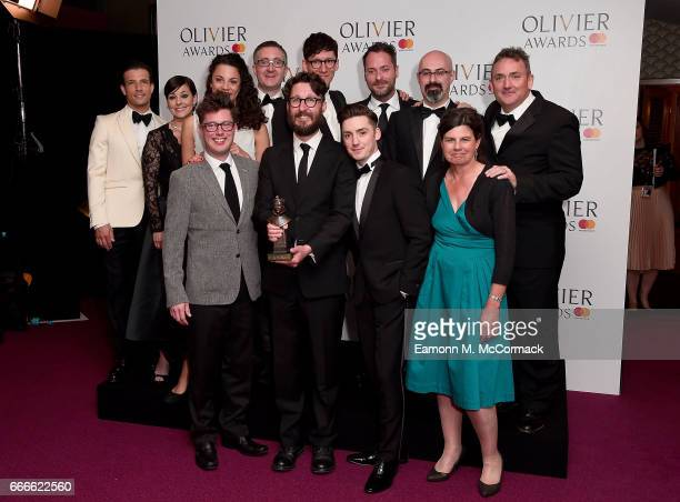 Presenters Danny Mac and Ruthie Henshall pose with Timothy Sheader Drew McOnie and members of the cast and creative of 'Jesus Christ Superstar'...