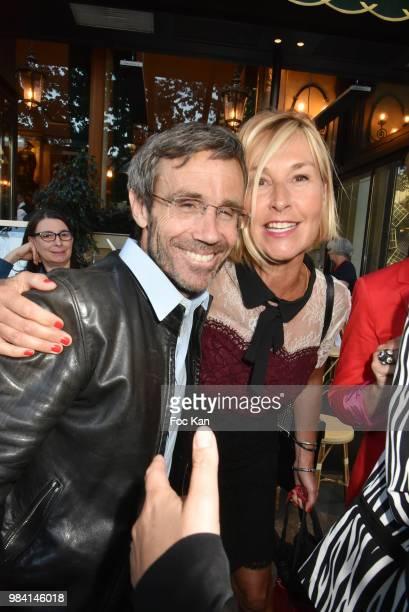 TV presenters David Pujadas and Karine Fauvet attend 'L'Ete Litteraire Des Deux Magots ' Book Signing Cocktail at Les Deux Magots Cafe on June 25...