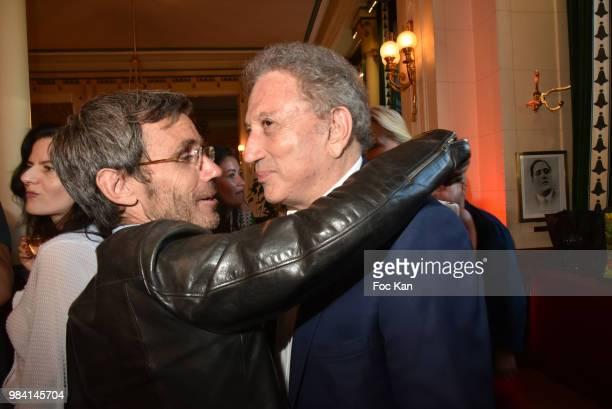 TV presenters David Pujadas and Michel Drucker attend 'L'Ete Litteraire Des Deux Magots ' Book Signing Cocktail at Les Deux Magots Cafe on June 25...