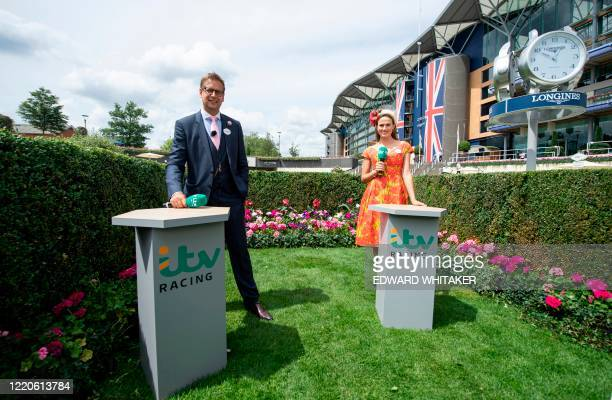 ITV presenters Ed Chamberlin and Francesca Cumani are seen on day two of the Royal Ascot horse racing meet in Ascot west of London on June 17 which...