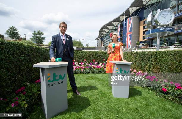 TV presenters Ed Chamberlin and Francesca Cumani pose for a photo during Day 2 of Royal Ascot at Ascot Racecourse on June 17 2020 in Ascot England