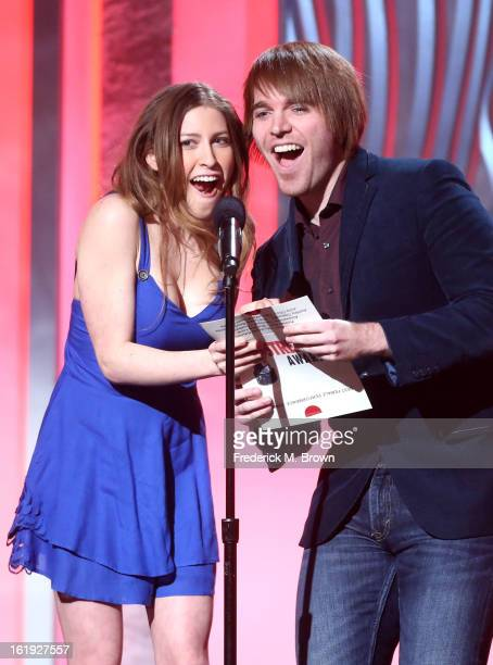 Presenters Eden Sher and Shane Dawson speak onstage at the 3rd Annual Streamy Awards at Hollywood Palladium on February 17 2013 in Hollywood...