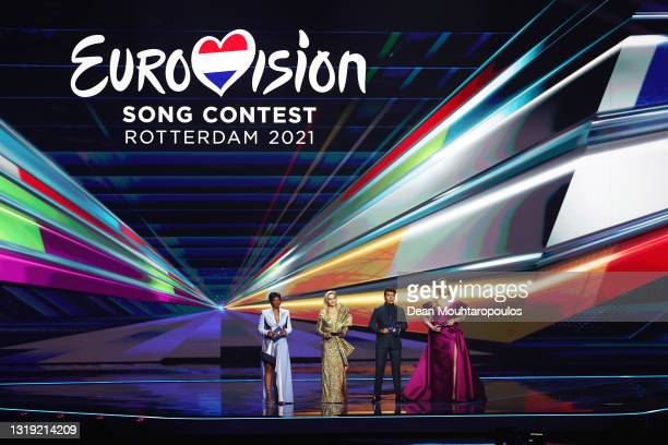 Presenters Edsilia Rombley, Chantal Janzen, Jan Smit and Nikkie de Jager during the 65th Eurovision Song Contest dress rehearsal held at Rotterdam...
