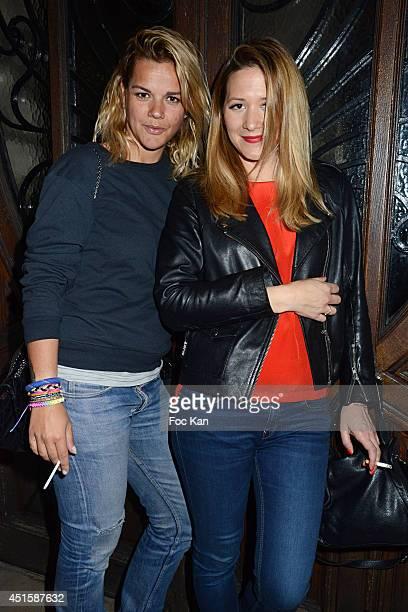 TV presenters Emilie Albertini and Stephanie Loire attend 'Un Look D'Enfer' Sebastien Patoche Show Case Party at the Theatre du Renard on July 1 2014...