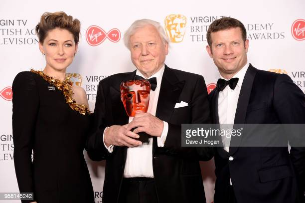 Presenters Emma Willis and Dermot O'Leary with Sir David Attenborough with the award for Virgin TV Must See Moment for 'Blue Planet II' pose in the...