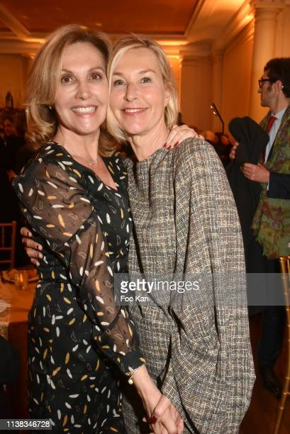 TV presenters Fabienne Amiach from France 3 and Karine Fauvet attend Enfance Majuscule Auction Concert Cocktail at Salle Gaveau on March 25 2019 in...