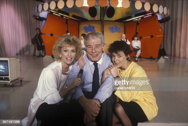 Presenters Fabienne Egal And Evelyne Leclercq with Jean Amadou On Set of Show Tournez Maneges Paris April 1987