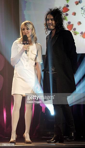 TV presenters Fearne Cotton and Russell Brand appear on stage at the BRIT Awards 2007 nominations launch party at the Hammersmith Palais on January...
