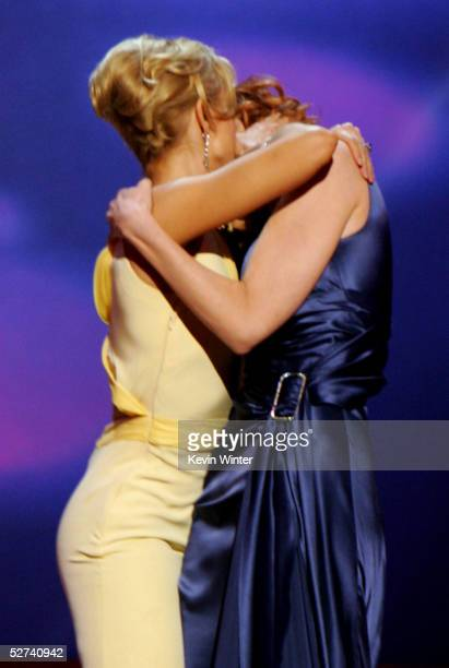 Presenters Felicity Huffman and Marcia Cross are seen making out onstage during the 16th Annual GLAAD Media Awards at the Kodak Theater on April 30,...