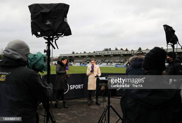 Presenters for BT Sport Reshmin Chowdhury and Karen Carney ahead of the Barclays FA Women's Super League match between Arsenal Women and Manchester...