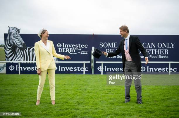 ITV presenters Francesca Cumani and Ed Chamberlin on Derby Day morning at Epsom Racecourse on July 04 2020 in Epsom England The famous race meeting...