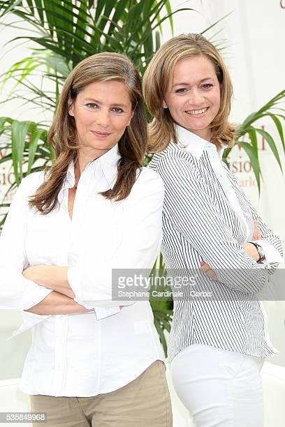 TV presenters Francoise Joly and Guilaine Chenu attend a photocall promoting the TV series 'Envoye Special'