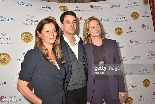 TV presenters Francoise joly Julian Bugier and Guilaine Chenu attend 'Autistes Sans Frontieres' Gala Dinner Arrivals at Hotel Marcel Dassault on June...