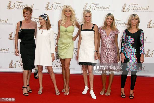 TV presenters Fred Courtadon Veronique Mounier model Victoria Silvstedt tv presenters Olivia Adriaco and Nathalie Vincent attend the opening night of...
