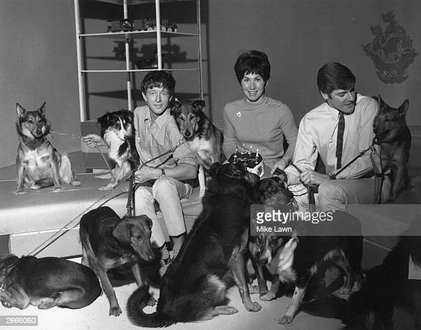 Presenters from the children's television programme Blue Peter John Noakes Valerie Singleton and Peter Purves celebrating Petra's sixth birthday with...