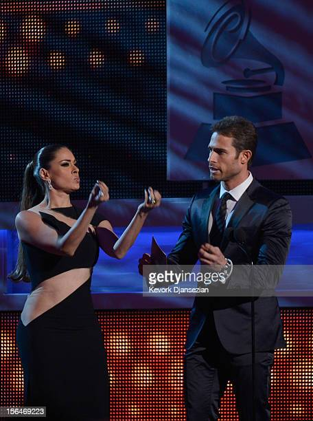 Presenters Galilea Montijo and Sebastian Rulli speak onstage during the 13th annual Latin GRAMMY Awards held at the Mandalay Bay Events Center on...