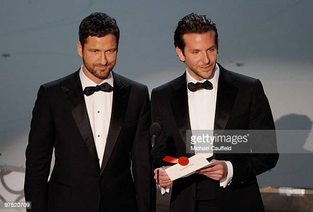 Presenters Gerard Butler and Bradley Cooper onstage during the 82nd Annual Academy Awards held at Kodak Theatre on March 7 2010 in Hollywood...