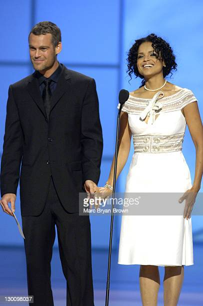 Presenters Grayson McCouch and Victoria Rowell at the 32nd annual Daytime Emmys