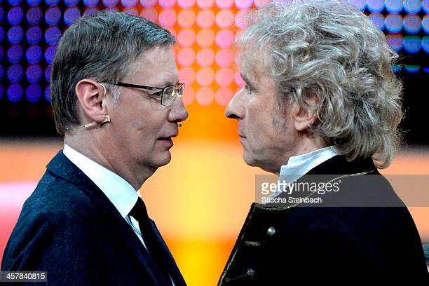 Presenters Guenther Jauch and Thomas Gottschalk face each other during the taping of the anniversary show '30 Jahre RTL - Die grosse Jubilaeumsshow...