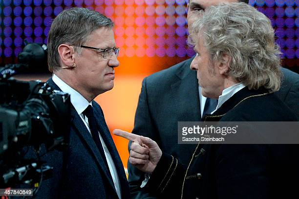 Presenters Guenther Jauch and Thomas Gottschalk face each other during the taping of the anniversary show '30 Jahre RTL Die grosse Jubilaeumsshow mit...