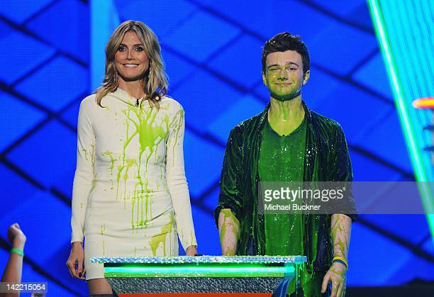 Presenters Heidi Klum and Chris Colfer speak onstage at Nickelodeon's 25th Annual Kids' Choice Awards held at Galen Center on March 31 2012 in Los...
