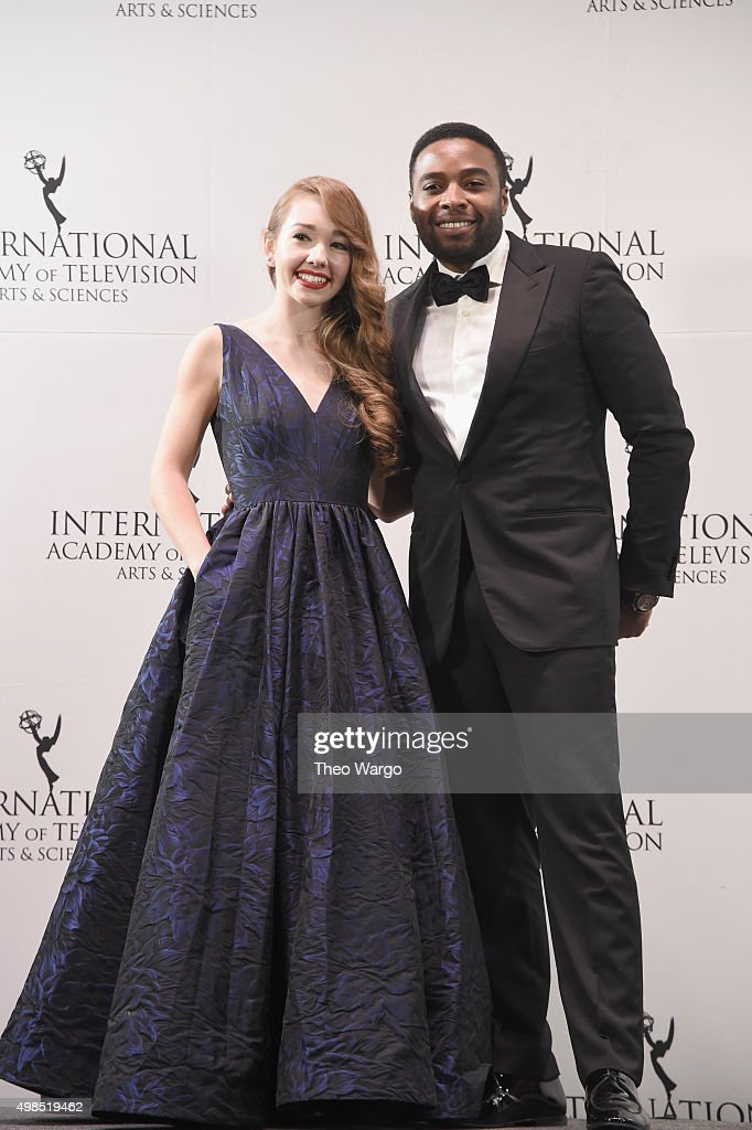 Presenters Holly Taylor and Joel Benoliel attends 43rd International Emmy Awards at New York Hilton on November 23, 2015 in New York City.
