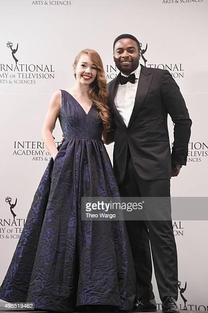 Presenters Holly Taylor and Joel Benoliel attends 43rd International Emmy Awards at New York Hilton on November 23 2015 in New York City