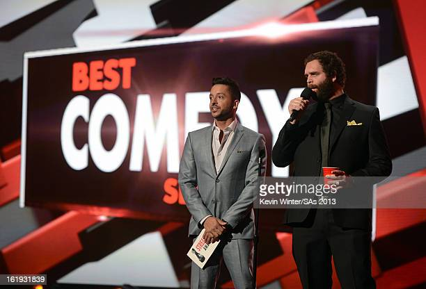 Presenters Jai Rodriguez and Harley Morenstein speak onstage at the 3rd Annual Streamy Awards at Hollywood Palladium on February 17 2013 in Hollywood...