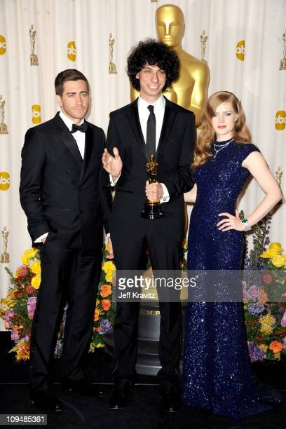Presenters Jake Gyllenhaal , Amy Adams and Actor/writer/director Luke Matheny pose in the press room during the 83rd Annual Academy Awards held at...