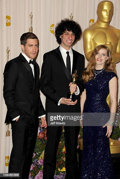 Presenters Jake Gyllenhaal ; Amy Adams and Actor/writer/director Luke Matheny pose in the press room during the 83rd Annual Academy Awards held at...
