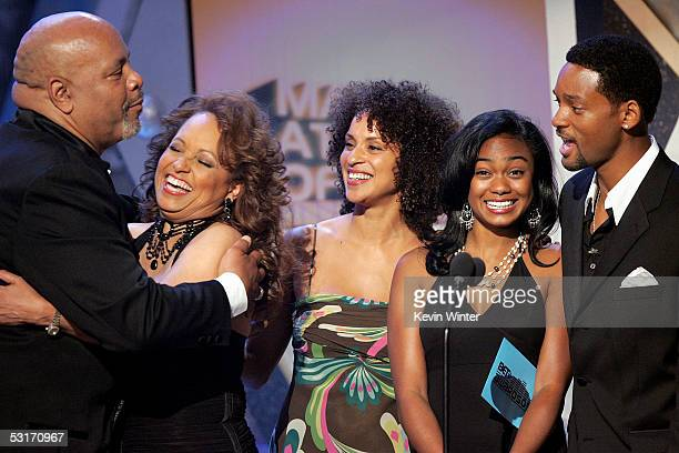 Presenters James Avery Daphne Reid Karyn Parsons Tatyana Ali and Will Smith stand onstage at the BET Awards 05 at the Kodak Theatre on June 28 2005...