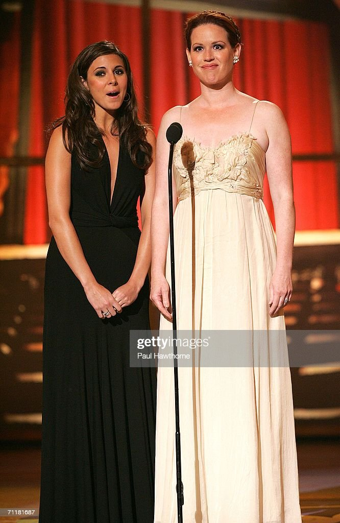 Presenters Jamie-Lynn Sigler and Molly Ringwald appear onstage at the 60th Annual Tony Awards at Radio City Music Hall June 11, 2006 in New York City.