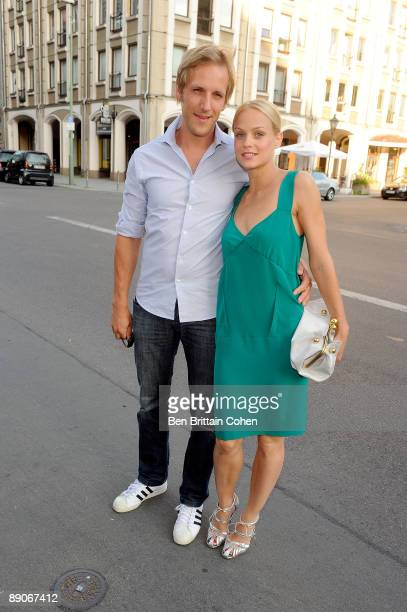 TV presenters Jan Hahn and Mirjam Weichselbraun attend the presentation of the new Stella McCartney collection at the store The Corner on July 16...