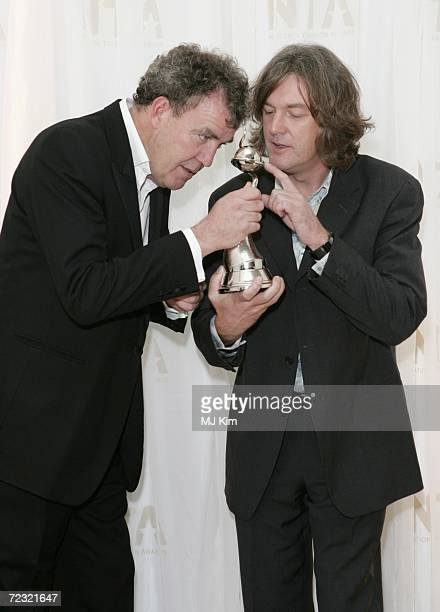 TV presenters Jeremy Clarkson and James May pose in the Awards Room with the Most Popular Factual Programme Award for Top Gear at the National...