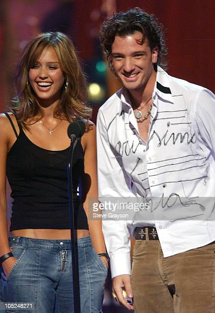 Presenters Jessica Alba and JC Chasez for Choice Movie Breakout Actress Presented by AOL/Teen People