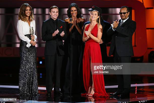 Presenters Jessica Alba Rosario Dawson Daryl Sabara Alexa Vega Danny Trejo and Tito Larriva speak onstage during the show at the 2013 NCLA ALMA...