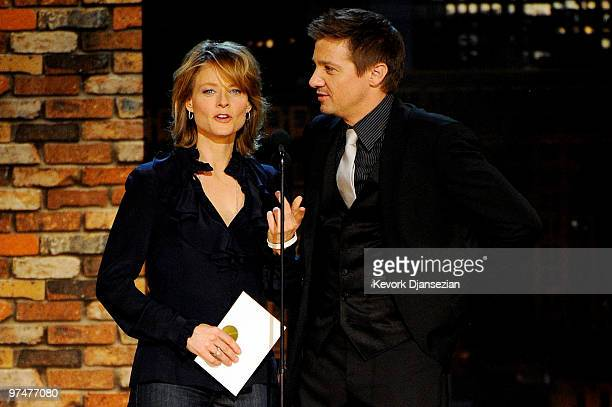 Presenters Jodie Foster and Jeremy Renner onstage during the 25th Film Independent's Spirit Awards held at Nokia Event Deck at LA Live on March 5...