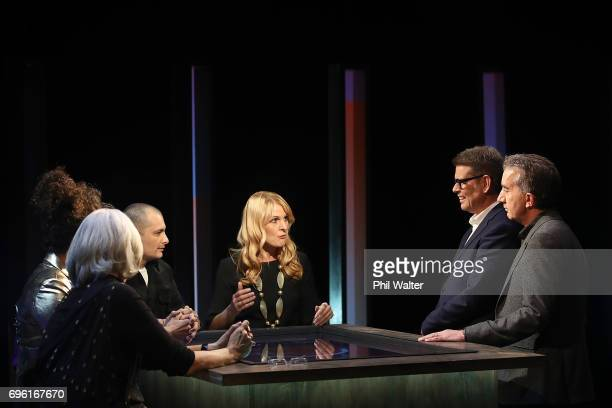 Presenters John Campbell and Nigel Latta speak with Futurists Derek Handley Wendy McGuinness Sacha McMeeking Shay Wright and Frances Valintine on the...