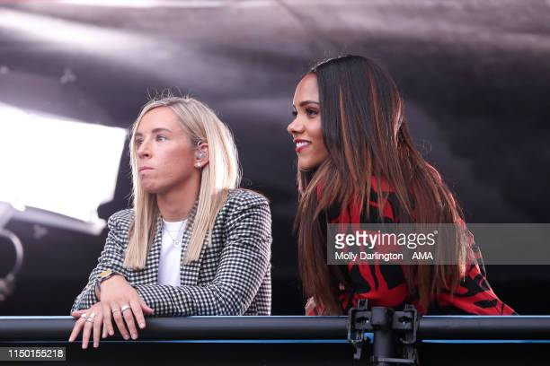 Presenters Jordan Nobbs and Alex Scott watch on during the 2019 FIFA Women's World Cup France group D match between England and Argentina at Stade...