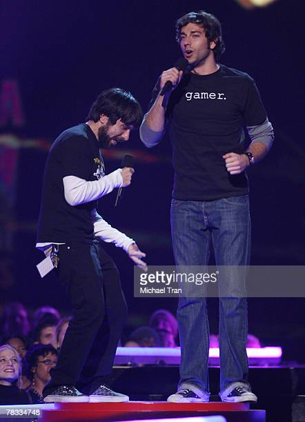 Presenters Joshua Gomez and Zachary Levi speak during the Spike TV's 2007 'Video Game Awards' at the Mandalay Bay Events Center on December 7 2007 in...
