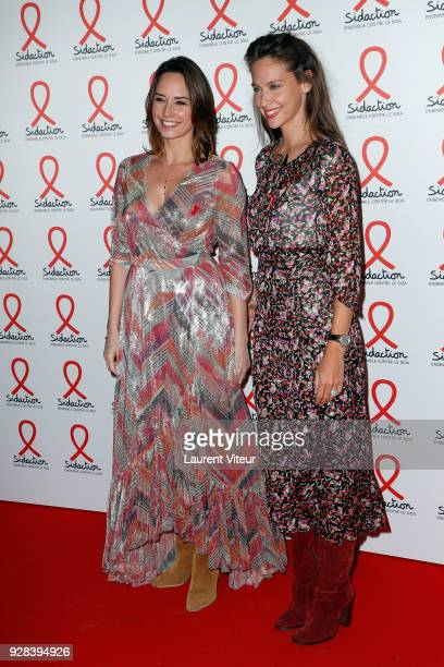 Presenters Julia Vignali and Ophelie Meunier attend Sidaction 2018 Launch at Musee du Quai Branly on March 5 2018 in Paris France