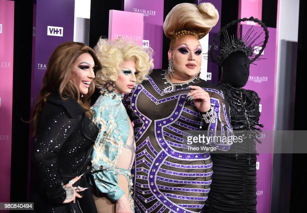 Presenters Kameron Michaels Aquaria Eureka O'Hara Asia O'Hara attend VH1 Trailblazer Honors 2018 at The Cathedral of St John the Divine on June 21...