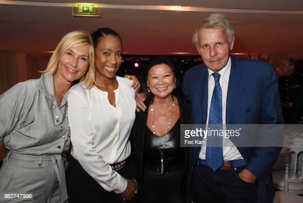 TV presenters Karine Fauvet Christine Kelly Jeanne d'Hauteserre and Patrick Poivre D'Arvor attend the 'Gala de L'Espoir' Auction Dinner Against...