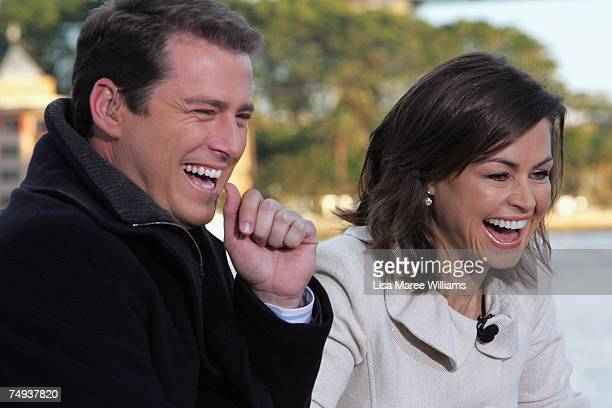 Presenters Karl Stefanovic and Lisa Wilkinson laugh live onair as part of the Today Show 25th birthday celebrations outside the Sydney Opera House on...