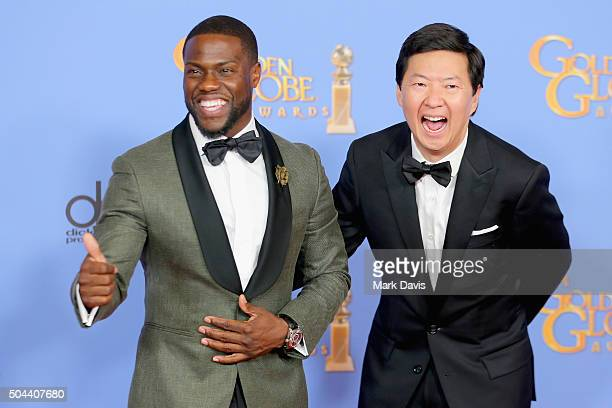 Presenters Kevin Hart and Ken Jeong pose in the press room during the 73rd Annual Golden Globe Awards held at the Beverly Hilton Hotel on January 10...