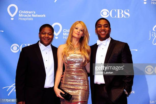 Presenters Kyle Massey Kim Matula and Christopher Massey pose in the press room at the 38th Annual Daytime Emmy Awards held at the Las Vegas Hilton...