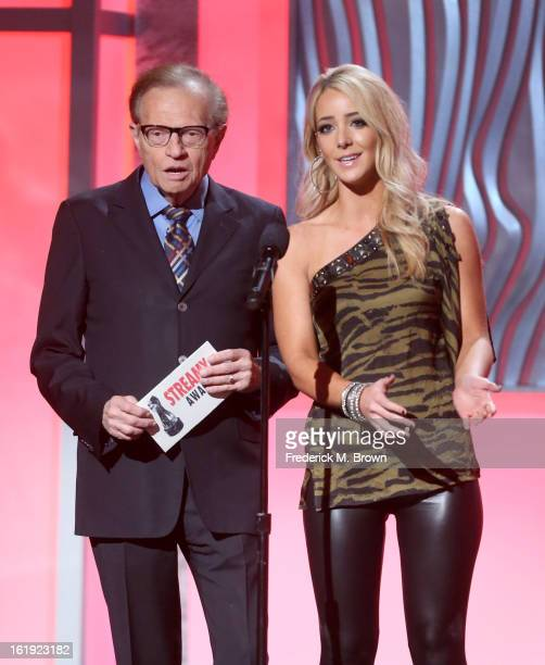 Presenters Larry King and Jenna Marbles speak onstage at the 3rd Annual Streamy Awards at Hollywood Palladium on February 17 2013 in Hollywood...
