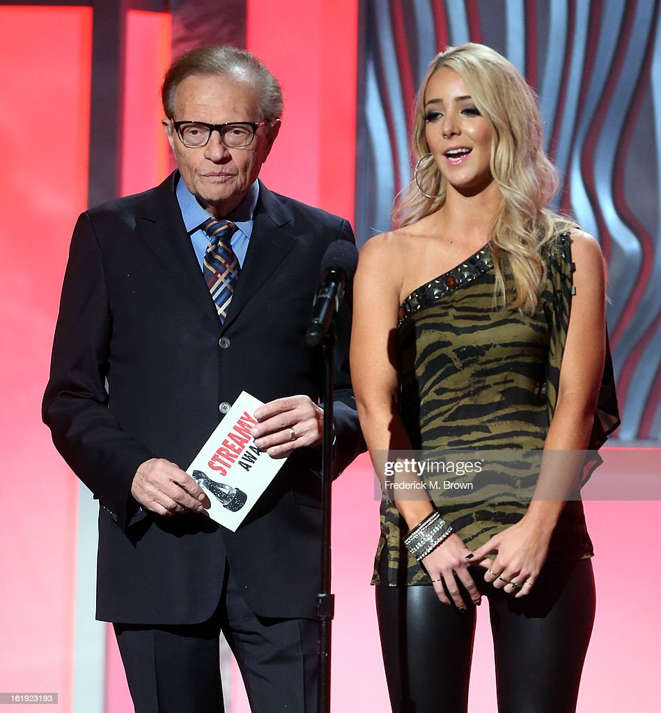 Presenters Larry King (L) and Jenna Marbles speak onstage at the 3rd Annual Streamy Awards at Hollywood Palladium on February 17, 2013 in Hollywood, California.